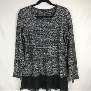 Alfani Tunic Silver Black Woven With Sequins Med